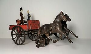 Antique Carpenter Cast Iron Two Horse Drawn & Dump Cart - Hubley Arcade Dent
