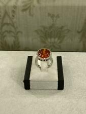 Beautiful Oval Cut Orange 7.85CT Garnet With Red Ruby & CZ Art Deco Unique Ring