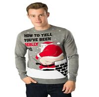 Men's Lads Knitted Novelty Funny Rude Bad Santa Xmas Father Christmas Jumper Top