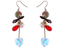 Asian Oriental Harmony Doves Floral Bead Heart Prism Dangle EarRing ALAs