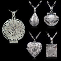 Women's Silver Plated Picture Locket Hollow Photo Pendant Chain Necklace 5/Style