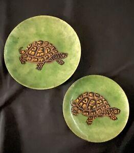 2 ANNEMARIE DAVIDSON TURTLE Enamel Art Copper Metal Dish Bowl Plate Mid-Century