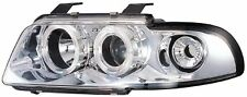 Audi A4 1995-2000 Chrome Halo Angel Eye Projector Front Headlights Lights - Pair