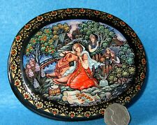 Russian LACQUER Box KHOLUI Hand Painted Fairy Folk Tale Little Havroshechka