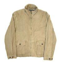 Ralph Lauren Polo Golf Tan Suede Leather Zip Up Harrington Jacket, Size XL