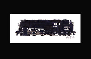 """Boston & Albany 4-6-6T 11""""x17"""" Matted Print by Andy Fletcher signed"""