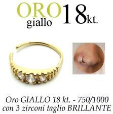 Piercing NASO cerchio anello ORO GIALLO 18kt. zirconi nose ring yellow GOLD 18kt