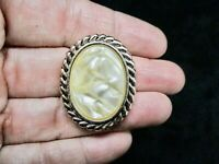Vintage  Gold Tone 1950's W. Germany MOP Scarf Clip