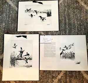3 TALIO-CHROME REPRO. PRINTS FROM ORIGINAL ETCHING BY RICHARD E. BISHOP w/docs.