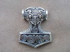 asatru thors hammer large hole sterling silver raven head nordic  norse pagan