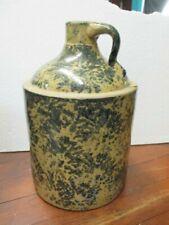 New listing Antique Primitive Stoneware Pottery Whiskey Jug Spongeware Splatterware country