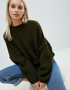 Brand New ASOS DESIGN Khaki Chunky Jumper in Crop with Volume Sleeve RRP£32 8-28