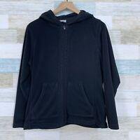 Columbia Hooded Fleece Jacket Black Full Zip Lightweight Womens Size Large