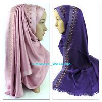 Cotton Pashmina Sheen Hijab Scarf Shawl Wrap Muslim Islam Headwear 170x60cm