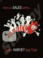 "1959 AD Harvey Cartoon TV Stars Casper Ghost Baby Huey  Metal Sign 9"" x 12"""