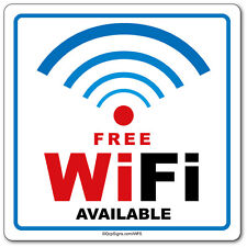 """Free WiFi Available, 6"""" x 6"""" window decal label sticker sign"""