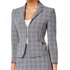 Tommy Hilfiger Women's Plaid Peplum Blazer Jacket - Charcoal - Size 10