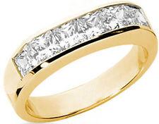 1.81 carat 6 Princess cut Diamond Anniversary Ring 14k Yellow Gold, Channel set