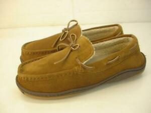 Men's sz 9 M Rockport Slippers Indoor Outdoor Brown Suede Sherpa Lined Moccasins