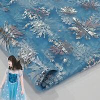 Schneeflocke Bronzieren Mesh Stoff Glitzer Prinzessin Kleid Garn Tuch DIY Xmas