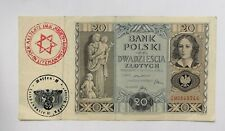 More details for ✡️ occupation currency note poland 20 zloty with a litzmannstand ghetto stamp.