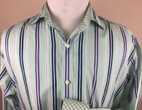 Tailorbyrd Flip Cuff - Green striped - Dress Shirt Size - Men's size Large L