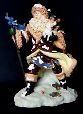 Christmas Santa Claus Walking Against the Wind carrying puppy Large Figurine