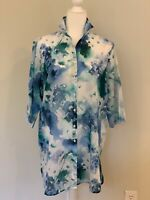 VLT's By Valentina's Made In Italy Womens Blue Floral Short Sleeve Top Blouse L