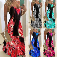 Womens Ladies Boho Vest Dress Printed Maxi Long Dresses Summer Beach Sundress UK