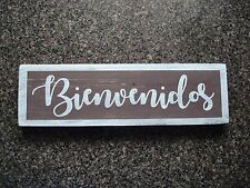 Small Bienvenidos wood sign, Spanish phrase on wooden sign Mexican home decor.