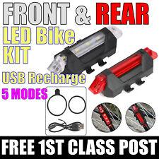 LED BIKE LIGHT SET Kit USB Rechargeable. FRONT & REAR.  FREE UK 1ST CLASS POST