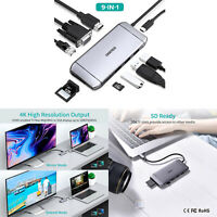 9 in 1 USB C Hub HDMI VGA Adapter für MacBook Pro/Air/iMac/Surface Pro 7/X MV