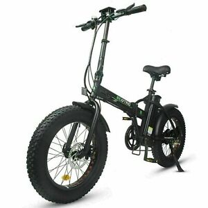 Ecotric 48V Fat Tire Portable and Folding Electric Bike with LCD Display - Black