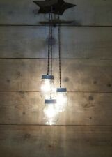 STAR CHANDELIER 3 Mason Jar Light Fixture RUSTIC METAL TEXAS STAR U CHOOSE