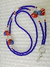ID BADGE HOLDER beaded heart American Flag Patriot  LANYARD key chain  34""