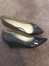 Nine West 'Gamella' BLACK leather pointed toe slip on wedge heels Gold Buckle 9