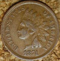 1874 Indian Head Cent - ATTRACTIVE VF+++  (M067)