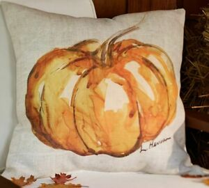 Painted Pumpkin Patch Pillow Cover Cotton/Linen Blend Pottery Barn by L Herrera