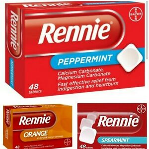 Rennie Orange Peppermint Spearmint Ice 48 Tablets Heartburn Indigestion Relief