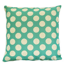 Aqua Polka Dots Kids Nursery Geometric Cotton Linen Cushion Cover Pillow Case