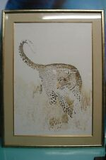 Original Leopard Watercolor Artwork by Leigh Voigt South African Wildlife Artist