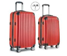 2 Piece 4 Wheels ABS Hard Case Shell TSA Lock Suitcase Luggage Travel Set Red