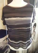 Ladies ADRIENNE VITTADINI Rolled Cuff Casual Black Grey Stripe Tee Vest Top - M
