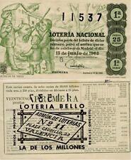 Año 1963. 25 Pesetas Décima parte del billete. 15 de Junio Sorteo 17. 1ª Serie.