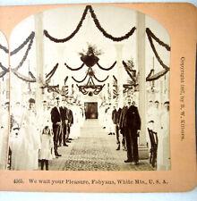 PHOTO STEREO BY KILBURN 1887 GRANDE FETE RECEPTION BANQUET USA s371