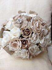 IVORY CHAMPAGNE ROSES WEDDING FLOWERS HESSIAN BURLAP VINTAGE SHABBY CHIC PEARLS