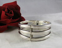Sterling Silver Mexico 63g HEAVY Clamper Bracelet Cat Rescue