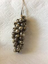 ANTIQUE WIRE STRUNG GLASS GRAPE CLUSTER CHRISTMAS ORNAMENT-SILVER