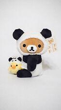 San-X Authentic Rilakkuma with Kiiroitori Pandas Medium Bear Plush
