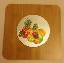 "1 RARE Natural Bamboo Heat Pad, Kitchen Decor, 3D FRUITS, round, approx. 7"" x 7"""